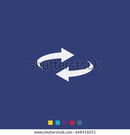 Reset button, reload arrows symbol. Flat illustration. #668416015