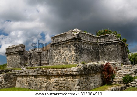 Resevoir house ruin at Tulum Mexico with storm cloud