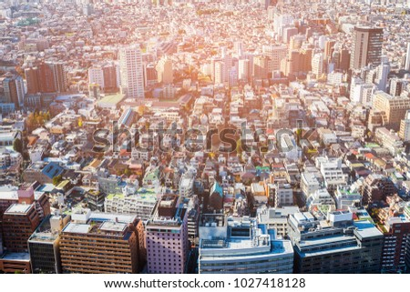 Residence downtown Tokyo cityscape crowded area, Japan #1027418128