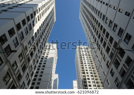 Resident apartment buildings against blue sky #621096872