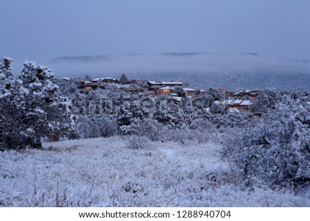 Resident homes hidden in the deep snow. Sedona, Arizona.