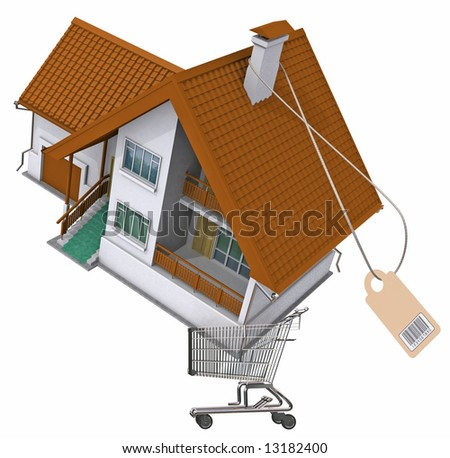 Residental house in a shopping cart. Image with clipping path. - stock photo