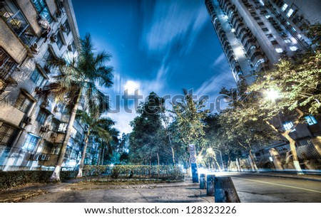 residential area at quiet night,HDR