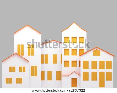 Residential area. 3d render illustration