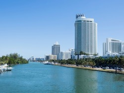Residential area in Miami, Florida  Miami is a seaport city on the Atlantic Ocean in south Florida.
