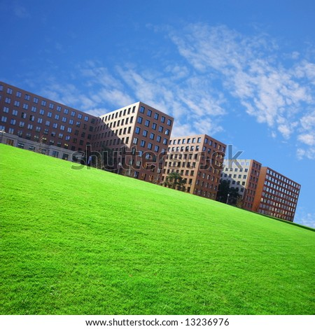 residential area in the city with grass field