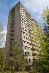 Residential area of abandoned Pripyat city in Chernobyl Exclusion Zone, Ukraine