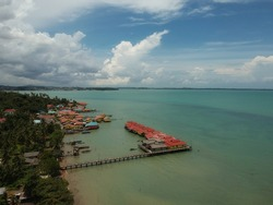 Residential area seen from above Penyengat Island, Tanjungpinang, Indonesia