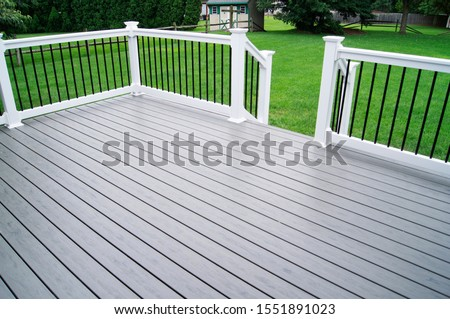 Residential Backyard Gray Composite Deck Stock photo ©