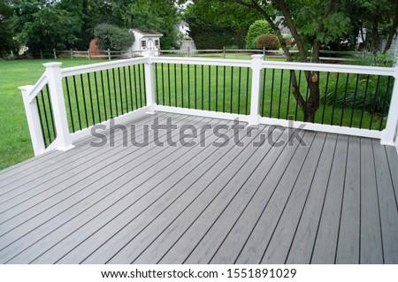 Residential Backyard Gray Composite Deck Stock foto ©