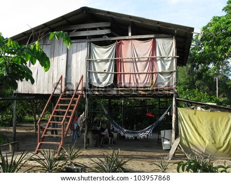 Residential building in the Amazon rainforest, near Presidente Figueiredo, Brazil