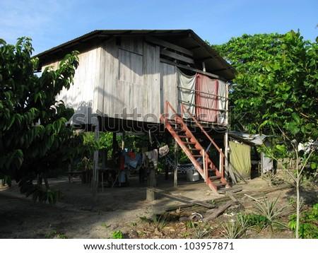 Residential building in the Amazon rainforest, near Presidente Figueiredo, Brazil