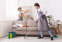 Residential Cleaning Services. Couple Of Skilled Housekeepers Man And Woman Tidying Up Apartment, Doing Household Together, Free Space