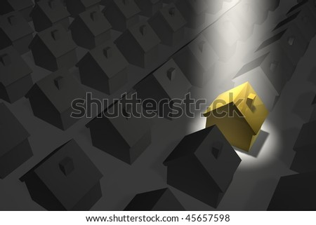 residential estate in grey - golden-yellow house in a spotlight from top