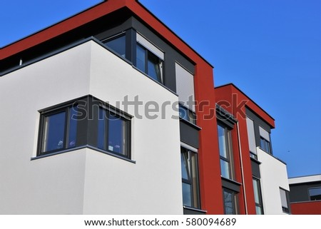 Residential home with modern facade painting #580094689