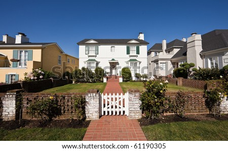 Residential homes. Average American two-story residential home.