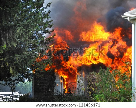 residential house fire, fully involved