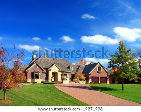residential house in Minneapolis metro area, fall season - stock photo