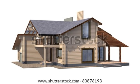Residential house of paint wooden timber. 3d model render. Isolation on white background. Real estate