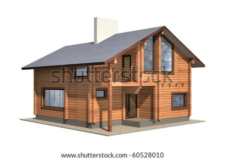 Residential house of wooden timber. 3d model render. Isolation on white background. Real estate