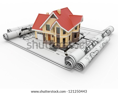 Residential house on architect blueprints. Housing project. 3d