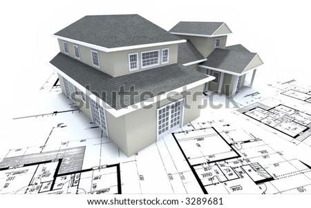 Residential house on architect's blueprints
