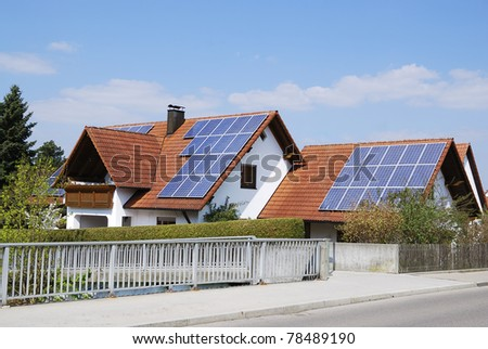 Residential house with photovoltaic installation