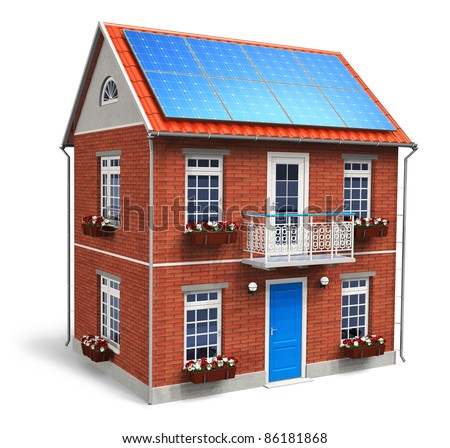 Residential house with solar batteries on the roof isolated on white background
