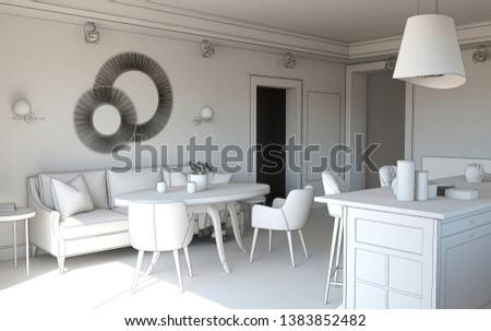 residential interior visualization, 3D illustration #1383852482