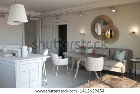 residential interior visualization, 3D illustration #1412629454