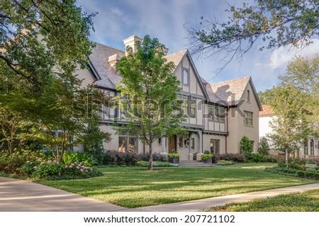 Residential mansion on green garden