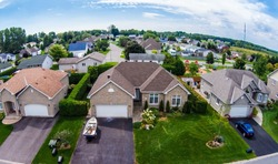 Residential neighborhood subdivision skyline Aerial shot
