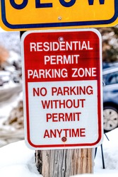 Residential Permit Parking Zone No Parking Without Permit Anytime road sign