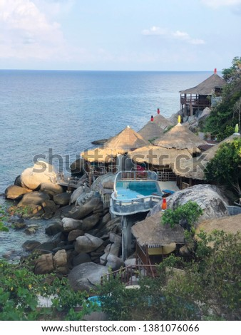 Residential seaside in Thailand,Seaside resort or Beach house in day time. #1381076066