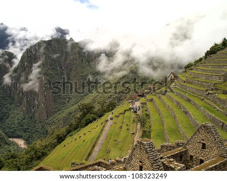 Residential section and the terraced agricultural field of the Machu Picchu