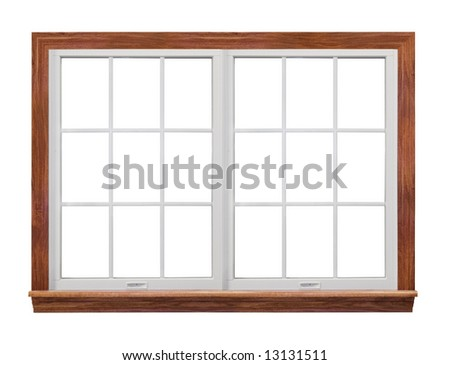 Residential window frame isolated on white also have single frame window with 9 squares.