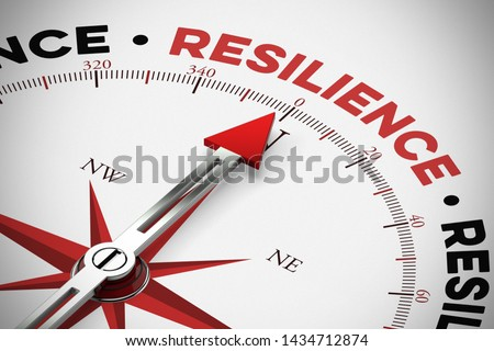 Resilience / resilience as physical resilience as a concept on a compass (3d rendering)