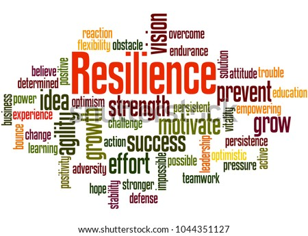 Resilience word cloud concept on white background.