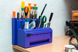 Resin tool holder made in 3D printer. Three-dimensional technology