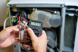 resistance measurement on the starting capacitor when repairing a dishwasher