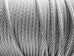 resistant steel cable rolled up in black and white