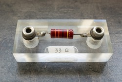 Resistor of 33 Ohm used for demonstration and physics experiments in science class at school