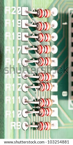 resistors mounted electronic board