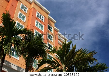 Resort and palm trees