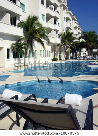 Resort building and the pools in Manzanillo city, Mexico.