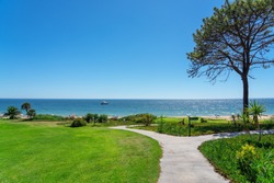 Resort luxury beaches, golf courses with palm trees, overlooking the sea for tourists to relax. Portugal algarve