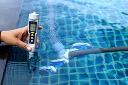 Resort Private pool has weekly check maintenance test, Salt Meter Level, to make sure water is clean and can swim