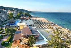 Resort Sunny Beach Bulgaria panorama of the beach and hotels. Panoramic view Sunny Beach Bulgaria.
