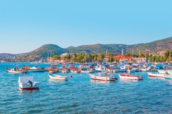 Resort town of Foca with many boats in the marina - Izmir, Turkey