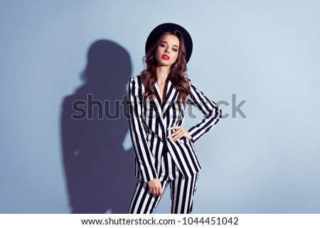 Respect famous well-dressed relaxed collar stylish attractive beautiful tender gentle sexy girl wearing catchy look strict modern outfit clothes garment suit isolated on gray background shadow